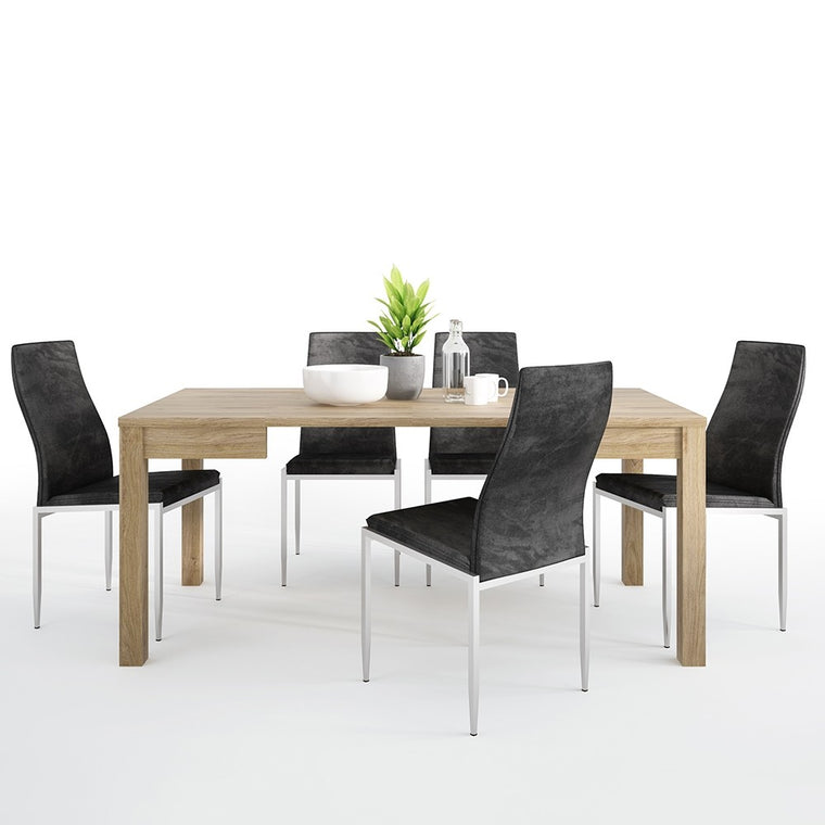 Axton Kingsbridge Extending Dining Table + 6 Milan High Back Chair Black