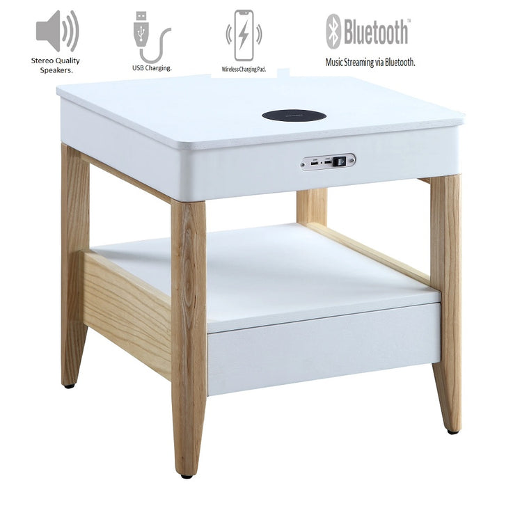Jual Furnishings San Francisco Speaker/Charging Bedside/Lamp Table (White/Oak)
