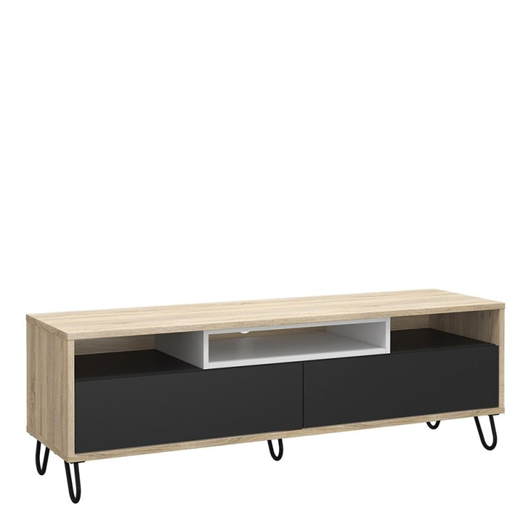 Axton Throggs Match TV Unit 2 Drawers w/ Media Compartment In Oak Wiith Dark Grey And White