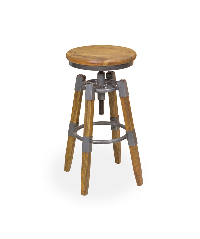 Bodiam Pendennis Wood & Metal Square Leg Swivel Stool