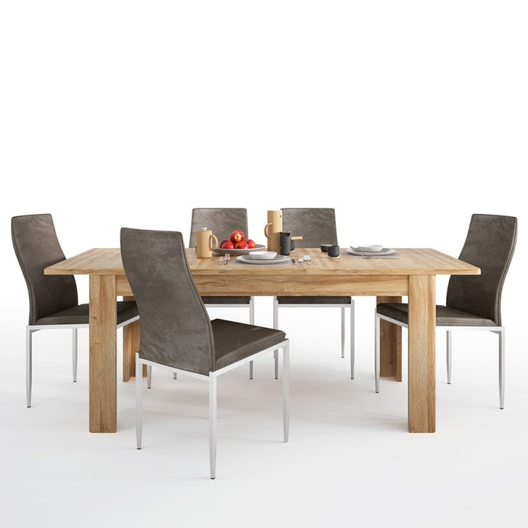 Axton Bronxwood Extending Dining Table in Grandson Oak + 4 Milan High Back Chair Dark Brown.