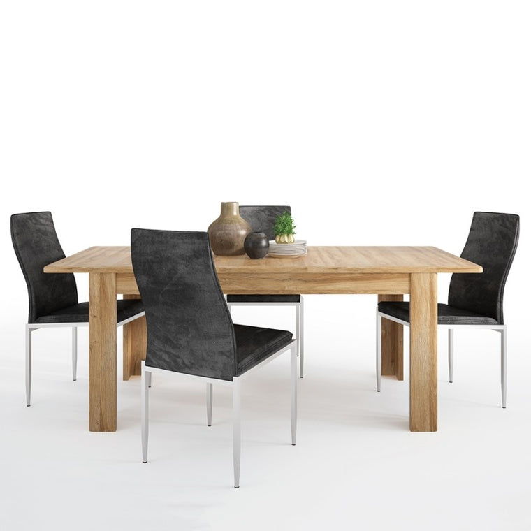 Axton Bronxwood Extending Dining Table in Grandson Oak + 4 Milan High Back Chair Black
