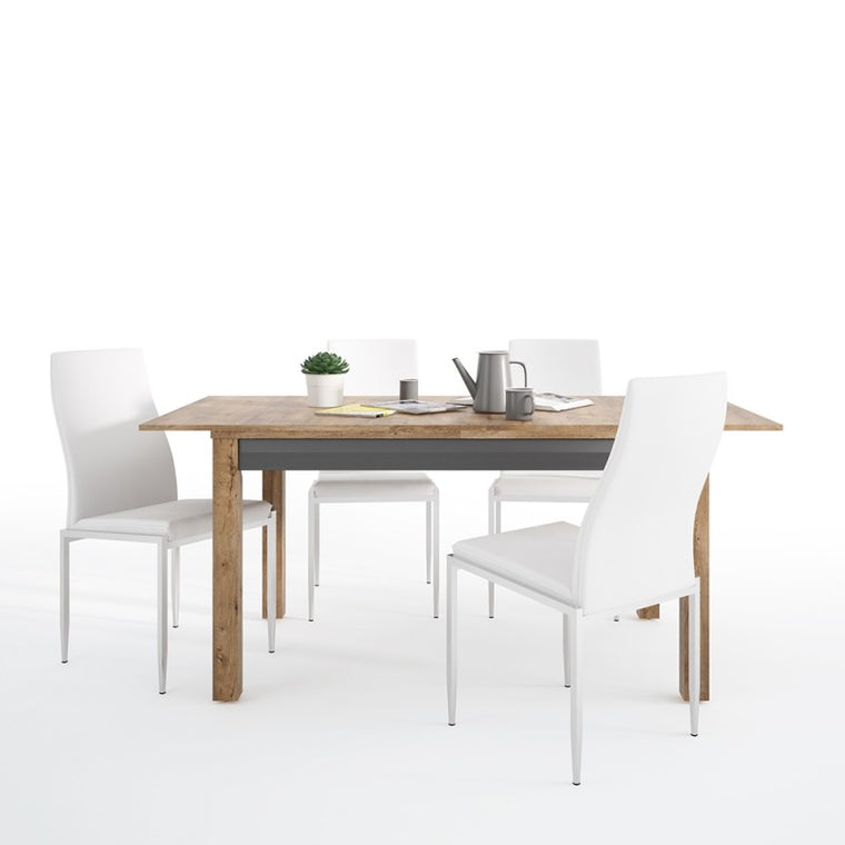 Axton Morris Extending Dining Table + 4 Milan High Back Chair White