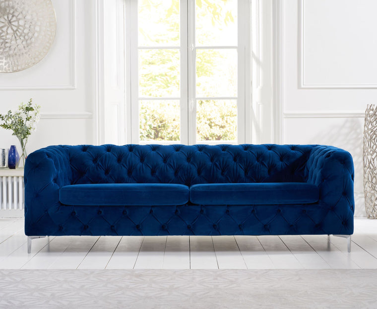 Mark Harris Alegra Blue Plush 3 Seater Sofa