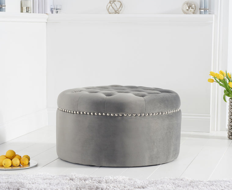 Mark Harris New England Grey Velvet Footstool