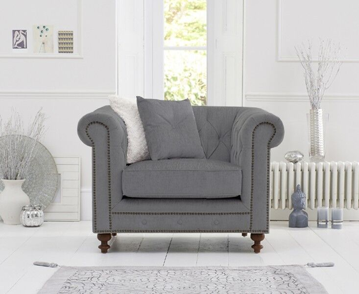 Mark Harris Montrose Grey Linen Fabric Arm Chair