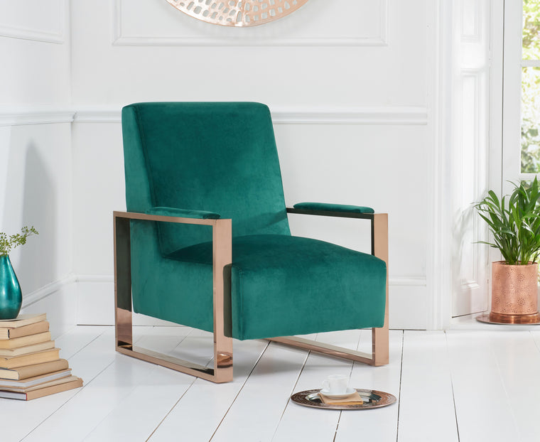 Mark Harris Erica Green Velvet Accent Chair