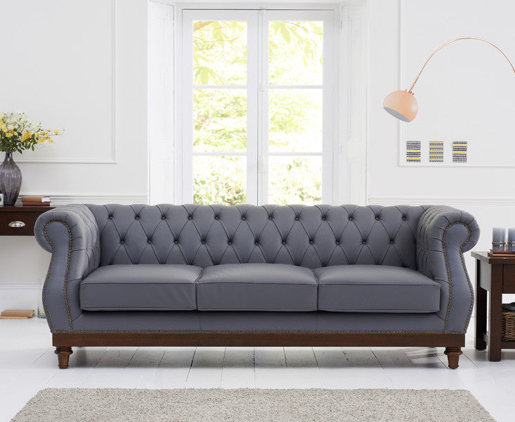 Mark Harris Highgrove Grey Leather 3 Seater Sofa