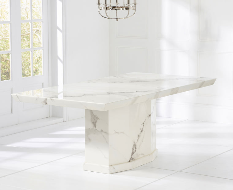 Mark Harris Como 200cm Ivory White Marble Dining Table