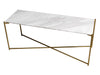 Gillmore Space Iris Large Low Console Table White Marble Top