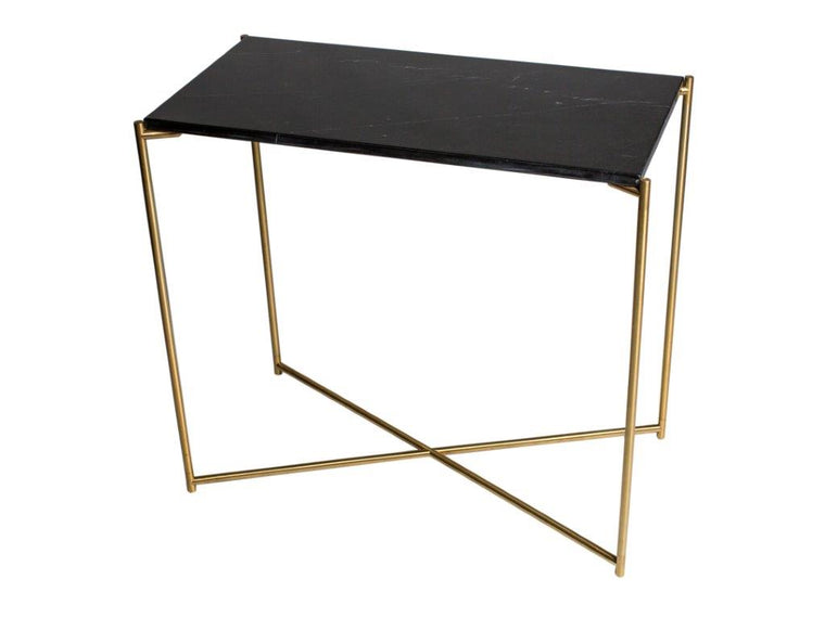 Gillmore Space Iris Small Console Table Black Marble Top