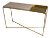 Gillmore Space Iris Large Console Table Weathered Oak Top & Small Brass Tray