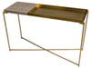 Gillmore Space Iris Large Console Table Weathered Oak Top & Large Brass Tray