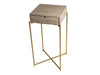 Gillmore Space Iris Square Plant Stand Weathered Oak Drawer