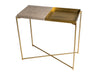 Gillmore Space Iris Small Console Table Weathered Oak Top & Brass Tray