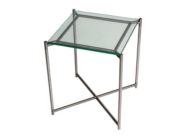 Gillmore Space Iris Square Side Table Clear Glass Top