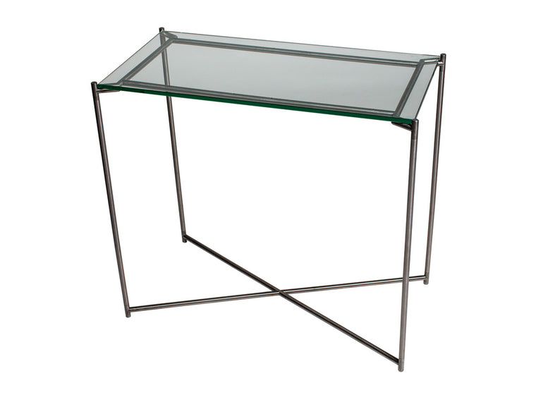 Gillmore Space Iris Small Console Table Clear Glass Top