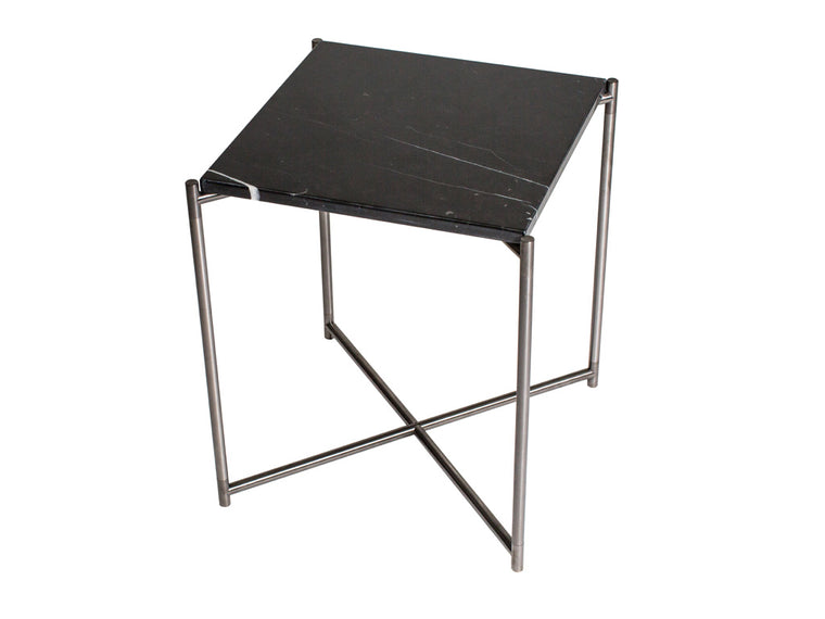 Gillmore Space Iris Square Side Table Black Marble Top