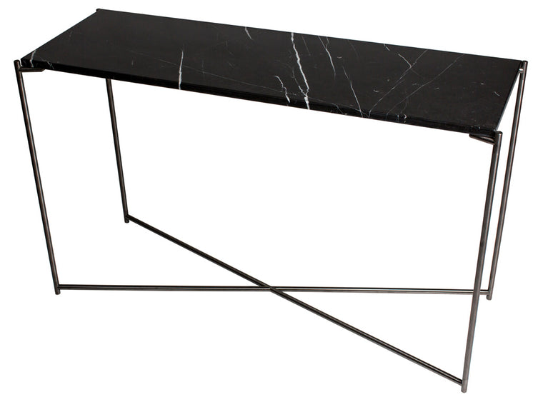 Gillmore Space Iris Large Console Table Black Marble Top