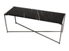 Gillmore Space Iris Large Low Console Table Black Marble Top