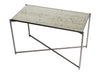 Gillmore Space Iris Rectangle Side Table Antiqued Glass Top