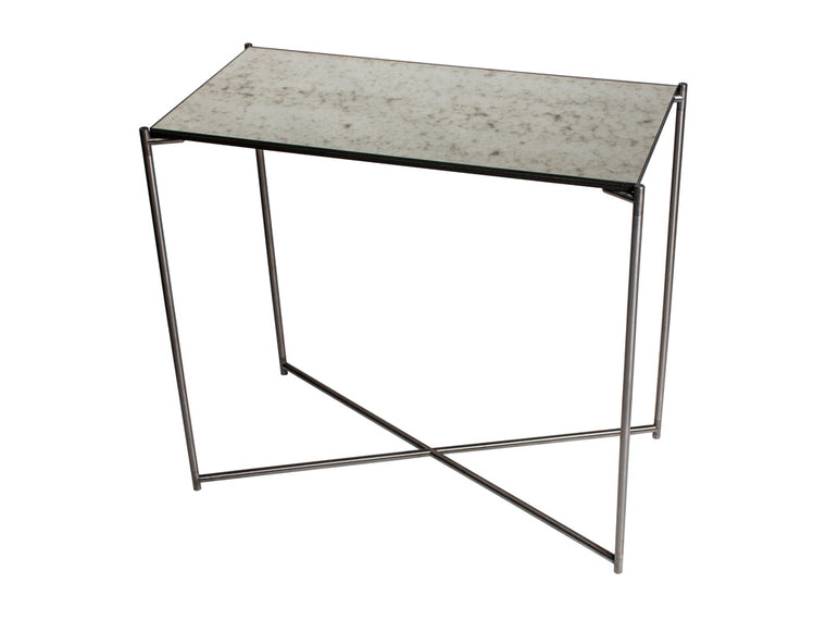 Gillmore Space Iris Small Console Table Antiqued Glass Top