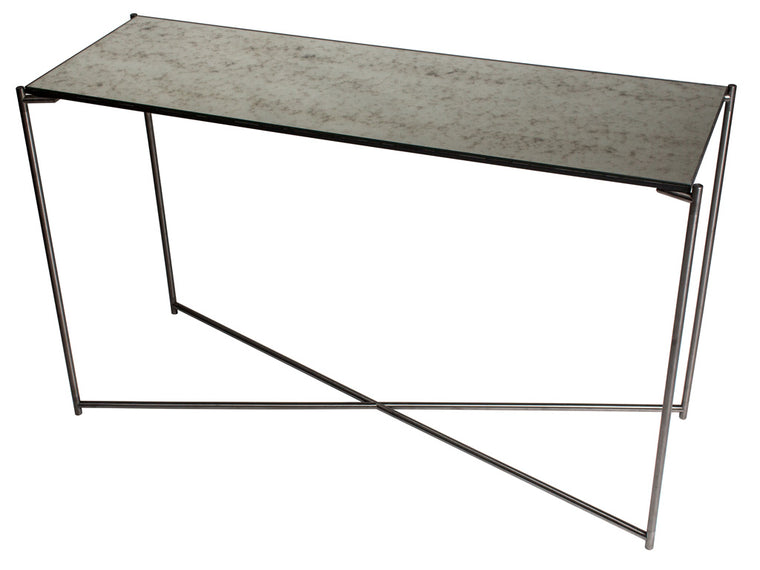 Gillmore Space Iris Large Console Table Antiqued Glass Top