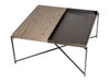 Gillmore Space Iris Square Coffee Table Weathered Oak Top & Gun Metal Tray