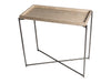 Gillmore Space Iris Small Console Table Weathered Oak Tray