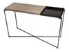 Gillmore Space Iris Large Console Table Weathered Oak Top & Small Gun Metal Tray