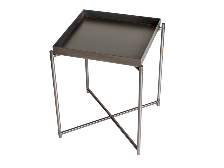 Gillmore Space Iris Square Side Table Gun Metal Tray