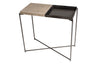 Gillmore Space Iris Small Console Table Weathered Oak Top & Gun Metal Tray