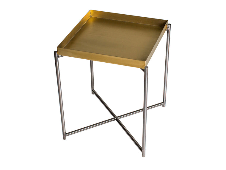 Gillmore Space Iris Square Side Table Brass Tray