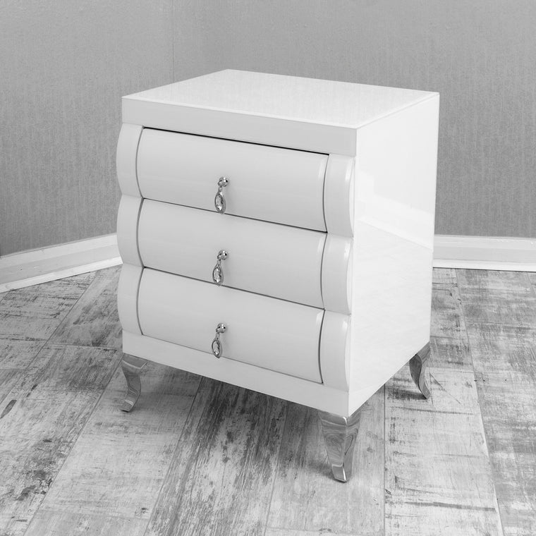 Eco Furniture White Curved Mirrored 3 Drawer Bedside