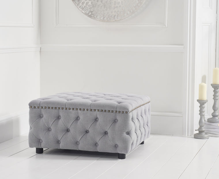 Mark Harris Fiona Grey Linen Square Footstool