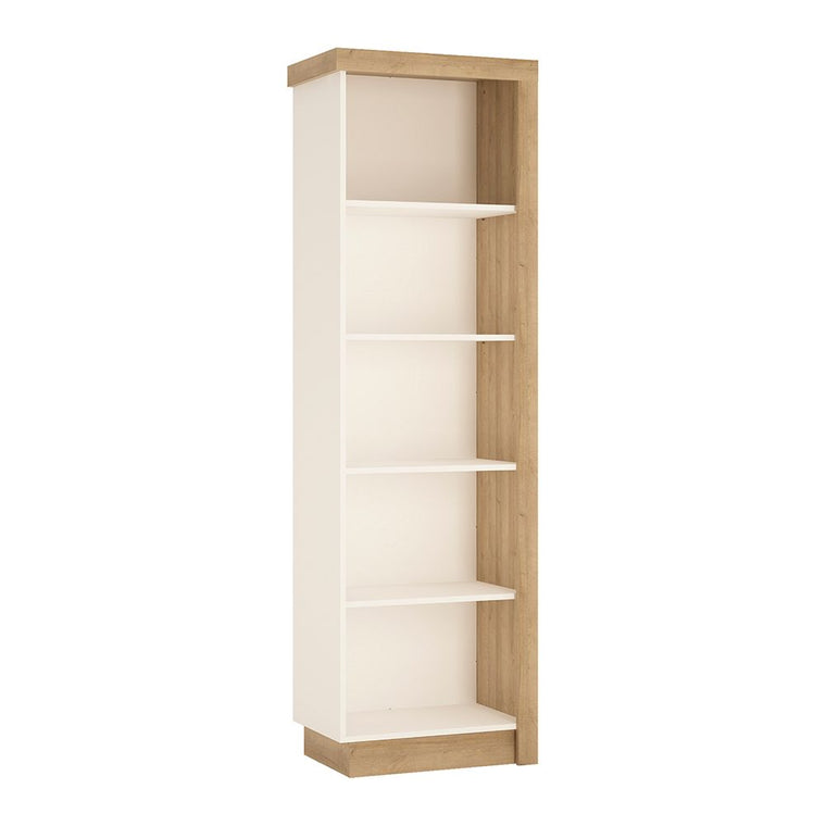 Axton Woodlawn Bookcase (LH) In Riviera Oak/White High Gloss