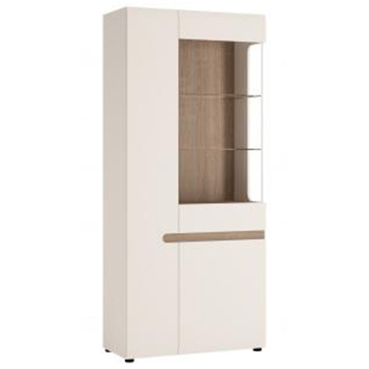 Axton Norwood Living Tall Glazed Wide Display Unit (LHD) In White With A Truffle Oak Trim