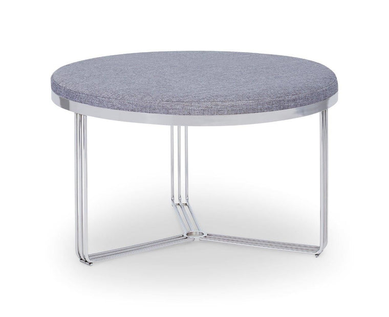 Gillmore Space Finn Small Circular Coffee Table Or Footstool Pewter Grey Upholstered & Polished Chrome Frame