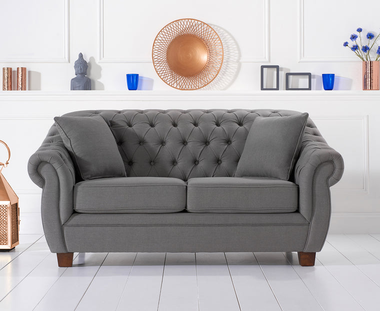 Liv Chesterfield Dark Grey Fabric Two Seater Sofa