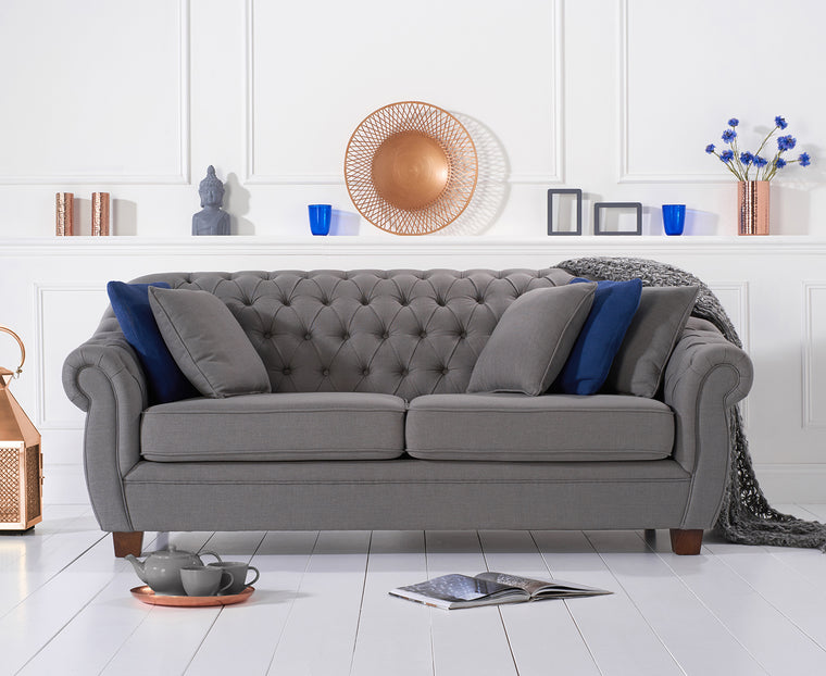 Liv Chesterfield Grey Fabric Three Seater