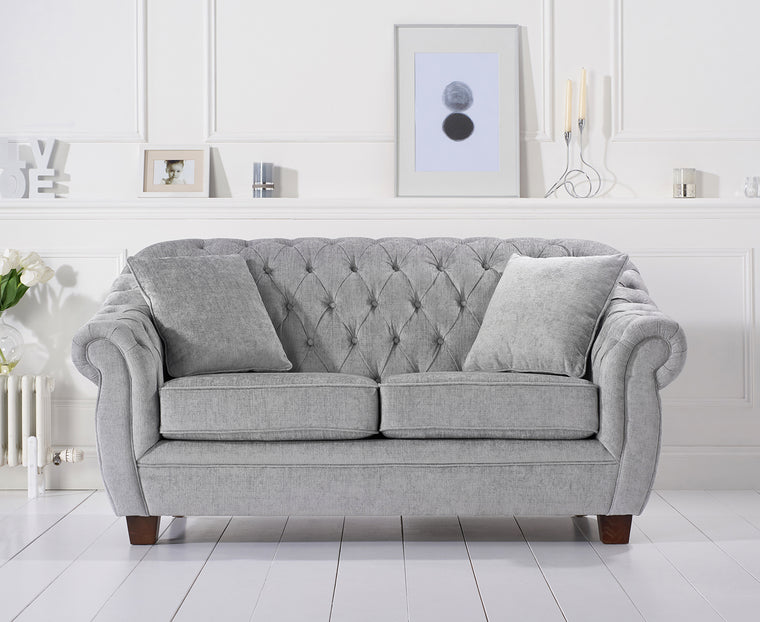 Liv Chesterfield Grey Plush Two Seater Sofa