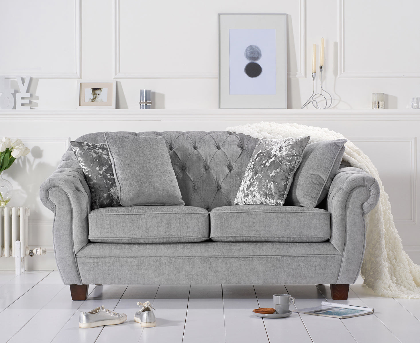 mark harris liv chesterfield grey plush 2 seater sofa. Black Bedroom Furniture Sets. Home Design Ideas