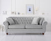 Liv Chesterfield Grey Plush 3 Seater Sofa