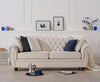 Liv Chesterfield Ivory Fabric Three Seater