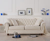 Liv Chesterfield Ivory Fabric Three Seater  3