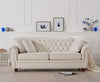 Liv Chesterfield Ivory Fabric 3 Seater
