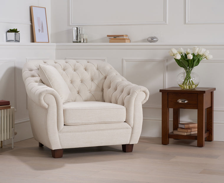 Liv Chesterfield Ivory Fabric Armchair 3