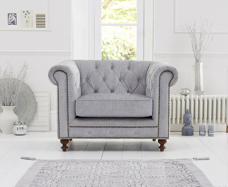 Montrose Grey Fabric Chesterfield Armchair