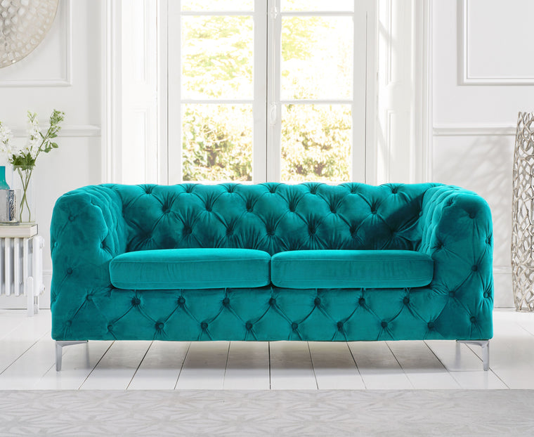 Alegra Teal Plush 2 Seater Sofa