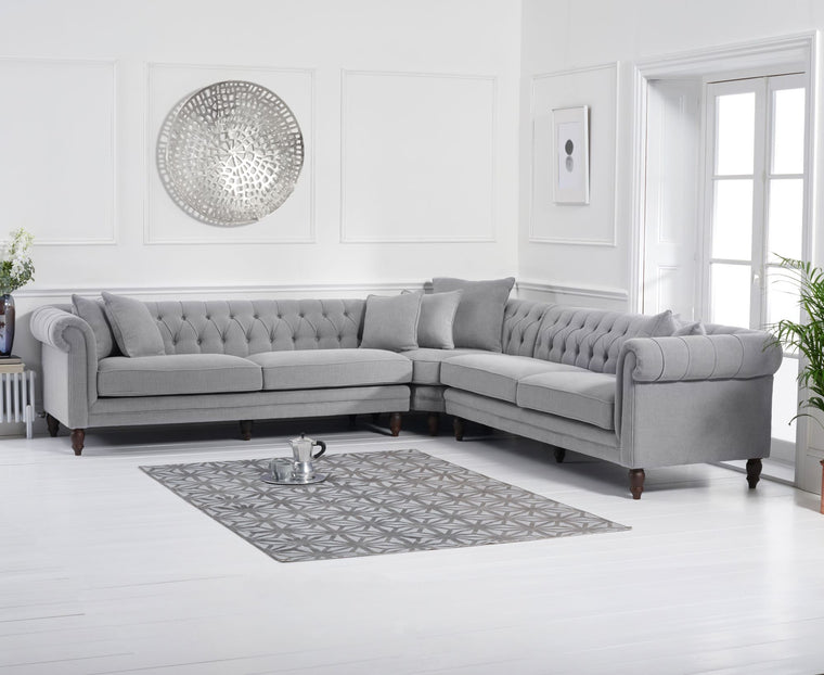 Mark Harris Lauren Grey Linen  2+2 Corner Sofa